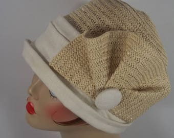 Straw, linen, cloche hat, 1920s, Art Deco, designer, church hat, vintage style, church hat, size S,M,L. Free shipping in  USA