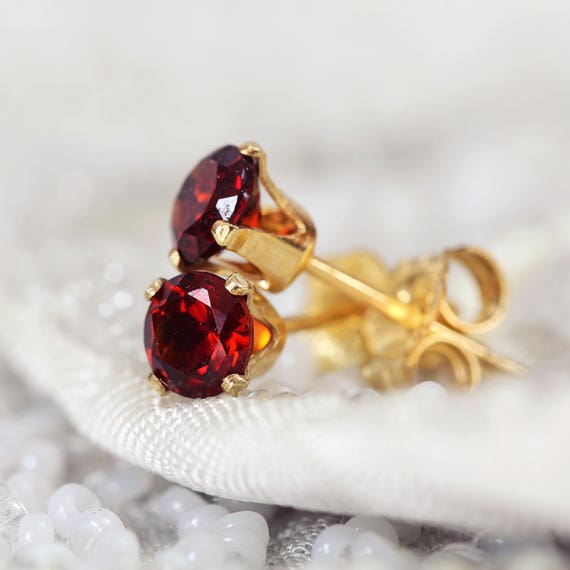 Garnet Stud Earrings - January Birthstone Jewellery