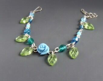 Blue rose women chain bracelet, green leaf glass beaded garden silver plated jewelry gift