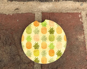 Custom Pineapples SandStone Car Coasters (set of 2),Personalized Car Coaster,  Car Coaster, Gift Ideas (set of 2)