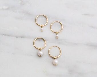 Dainty Pearl Earrings / Tiny Pearl Hoop Earrings / Gold Filled Mini Pearl Earrings / Gold Tiny Hoops / Bridesmaids Earrings, Jewelry