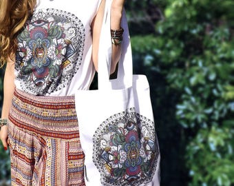 Fairtrade Organic Twill Bag in White. 'Psychedelic' Mandala Design