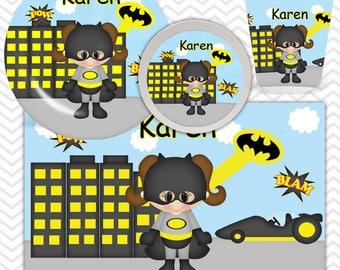 Batgirl Plate, Bowl, Cup, Placemat - Personalized Super Hero Dinnerware for Kids - Custom Tableware