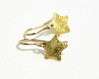 Dainty Earrings ~ Tiny Gold Star ~ Small Drop Earrings ~ Wishing Star ~ Simple Dangle Earrings ~ Women Gift ~ Gold Filled ~ Minimal Jewelry