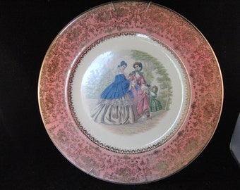 Vintage Victorian style plate by Salem 23K gold plated