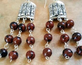 Unique Mahagony Obsidian Dangle Earrings