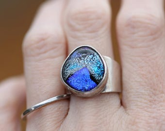 Dichroic glass Sterling Silver ring size 8