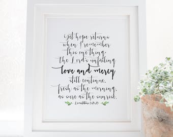 Lamentations 3:21-23 - The Lord's unfailing love and mercy - His Mercies are New Every Morning - Scripture Art - Bible Verse