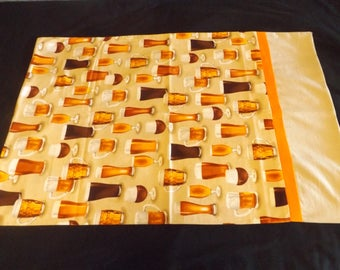 Pillowcase with beer fabric.