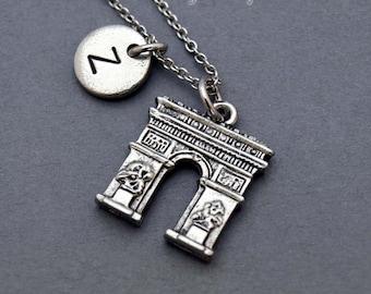 Arc de Triumph necklace, Arc de Triomphe, Paris, Arch of Triumph, initial hand stamped, personalized, antique silver, monogram