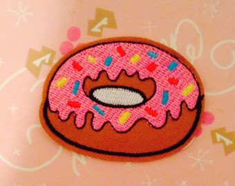 Donut Patches - Iron on Patches or Sewing on Patch Pink Donut Patches Embroidered Patch Food Sewing Patch Dessert Embellishment
