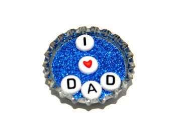 NEW Bottle Cap Magnet - I heart Dad - Single Magnet