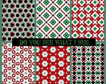 PRINTABLE Do You See What I See Digital Paper Pack Scrapbook Paper Set of 6 Sheets