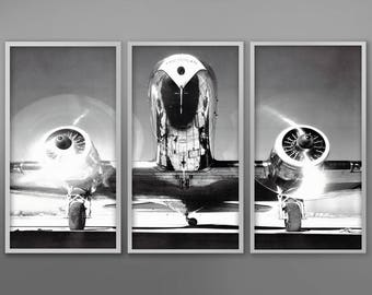 AIRPLANE TRIPTYCH, Vintage Aircraft, Vintage Airplane, Aviation Photography, Monochrome Photo, Black and White Photography, Military Art