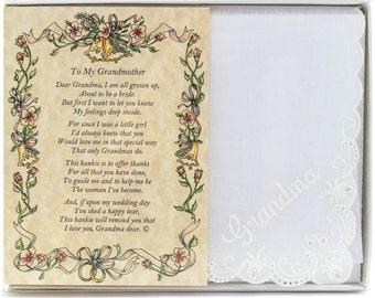 Personalized Poetry Hankie for Grandmother from Bride Wedding Handkerchief - BH108