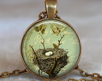 Bronze Bird's Nest pendant charm, bird's nest necklace, nature lover gift nesting bird jewelry, bird nest key chain key ring key fob