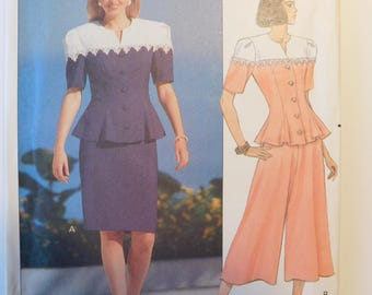 Leslie Fay for Butterick Classic Vintage Sewing Pattern 5406 Women's Fashion Misses Top, Skirt and Split Skirt Misses Size 6- 8-10