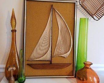 "Sailboat STRING ART, Vintage Nautical Wall Art, Retro Ship, Man Cave Decor, 26"" T x 18"" W, Mid Century, Clipper Wall Art, Teak, Yacht, 1970s"