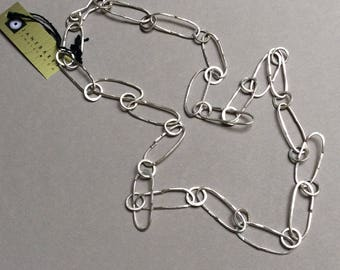 Sterling silver funky hammered chain
