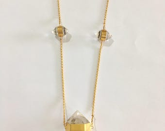 Triple Sterling Silver Gold Plated Quartz Necklace
