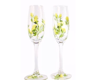 Hand Painted Yellow Rose Champagne Glasses, CRYSTAL Set of 2 - Fall Wedding Toasting Flutes