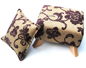 Contemporary Beige Slub and Grape Figured Chenille Footstool with Cushion