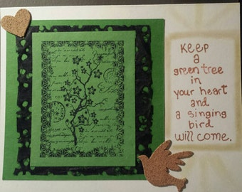 Green tree, singing bird #2 - handmade greeting card