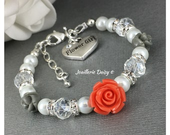 Flower Girl Gift Orange Coral and Grey Flower Girl Jewelry Flower Girl Bracelet Coral Flower Gift for Her Wedding Gift Idea