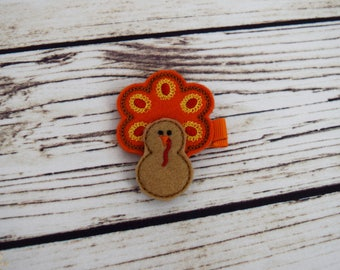 Handcrafted Orange and Red Turkey Feltie Clip - Thanksgiving Turkey Bow - Small Hair Clip - Baby Girl Bows -Fall Hair Clip -Stocking Stuffer