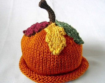 Knit Falling Leaves Autumn Hat, Knit Cotton Baby Hat great photo prop