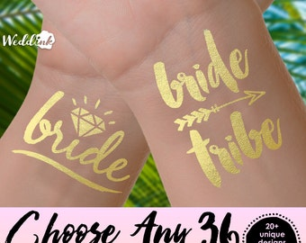 Choose Any 36 Tattoos | bachelorette party tattoos, metallic temporary tattoos, gold foil tattoos, bridesmaid gifts, gold tattoos