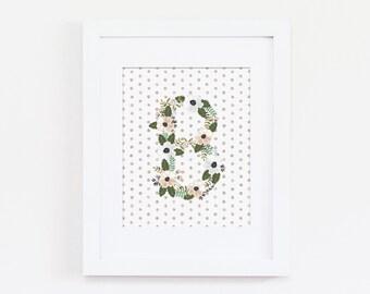Floral Initial Art, Letter B Art, Neutral Nursery Decor, Baby Girl Nursery Art Print, Letter Art, Vintage Nursery Decor, Instant Download