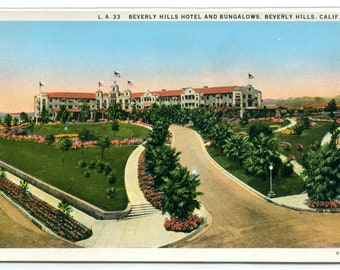 Beverly Hills Hotel Bungalows Beverly Hills California 1920s postcard