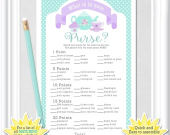 "Instant Download Baby WHAT is in YOUR PURSE? game, ""Tea Party"" Baby Shower game in teal/aqua and purple/lavender, diy Printable, 73BA"