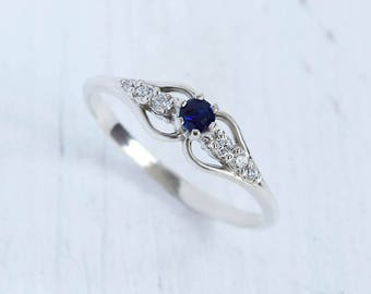 Sapphire ring silver, Antique engagement ring, Art deco engagement ring, Victorian  engagement ring, Gemstone engagement, Blue sapphire ring
