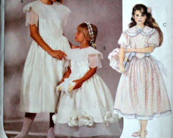 McCall's 6860 Special Moments Sewing Pattern, Girls' Dresses & Overskirt, Size 10-12-14, Uncut FF, Flower Girl, Special Occasion Dress