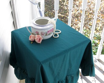 Two Small Tablecloths in Green, Two Matching Round Frilled Tablecloths, Hunter Green, Round, Shabby Cottage, by mailordervintage on etsy