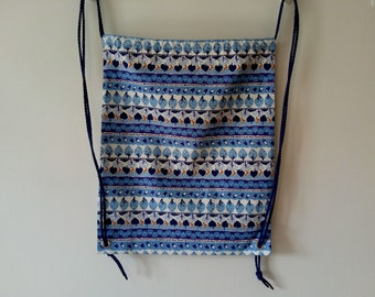 Blue Drawstring Backpack / Bag