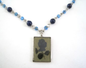 Vintage Rose Pendant Necklace Cobalt Blue Beads and Silver Chain - Silver Framed Blue Rose Charm