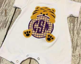 Tiger baby romper, Tigers Purple and Gold boys romper, tigers boy shirt, Tigers purple gold baby outfit