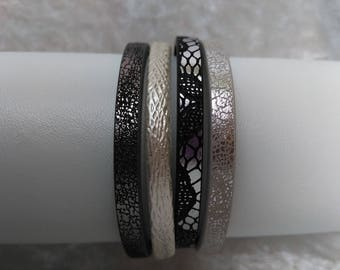 Black, white and silver Cuff Bracelet