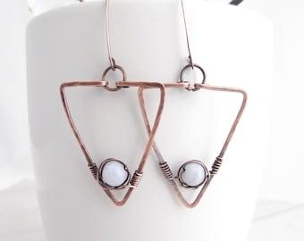 Copper Geometric Triangle Earrings - Hammered Copper Wire Earrings - Minimalist Triangle Earrings - Simple Modern Jewelry - Boho Earrings