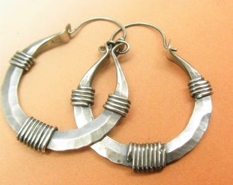 Argentium Sterling Silver Hoop Earrings, Wrapped Hoops, Large Hoops. Sterling Hoops, Rustic Earrings, Silver Earrings, Argentium Earrings
