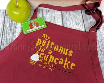 """My patronus quote in Scarlet and Gold colors custom quote 24""""L x 28""""W professional 3 pocket bib apron. Customized and personalized"""