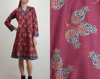 Vintage Dress / Block Print / India Cotton Dress / 70s India Dress / India Caftan / Tent Dress / 70s Dress / 70s Caftan / Small Medium