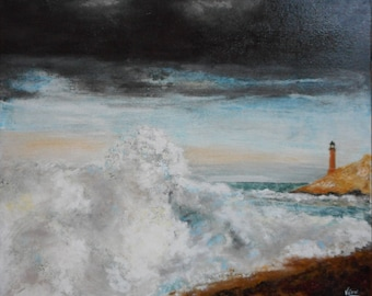 Original acrylic painting of a lighthouse in Patagonia-painted by hand-Original acrylic painting of a lighthouse in Patagonia-Hand Painted