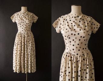 vintage 1950s dress / 50s polka dot dress / small / Toffee Chip Dress