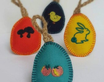 Easter decorations. Easter tree ornaments. Easter egg hanging decoration. Cute Felt egg ornament. Set of 4. Handmade Easter gift. Australia
