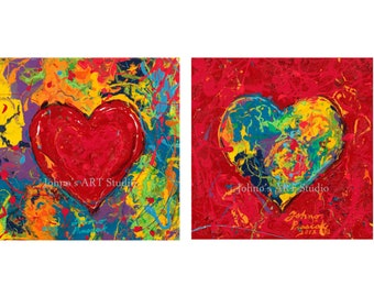 Will & Grace Hollywood set art, Heart wall art set, Abstract Heart wall art, Gift for sweetheart, Heart Print by Johno Prascak of Pittsburgh