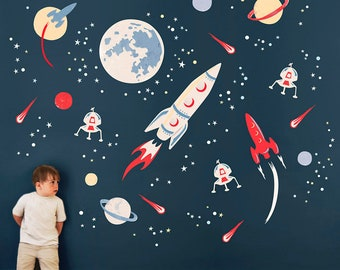 Space Rocket Fabric Wall Stickers